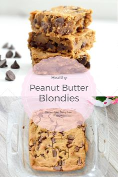 Healthy Peanut Butter Blondies Recipe! Using chickpeas makes these bars a dessert you can feel good about eating! They are gluten-free, dairy-free, refined-sugar free and vegan friendly!