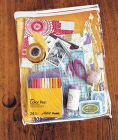 CRAFT ROOM IDEA: Zippered Linen Bag as Supply Carrier ~ Stash supplies for scrapbooking, knitting, sewing, art projects, etc. in one of these sturdy, transparent pouches so all of your materials & tools are in one place.