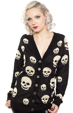 SHE'S DEADLY SKULL CARDIGAN BLK You will certainly catch yer death if you don't layer up in the She's Deadly Skull cardigan! This super snug v-neck cardigan with off-white skull pattern features a longer length that pairs perfectly with leggings or skinny jeans. $40.00 #cardigan #skulls