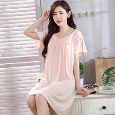 Plus Size Women Short Sleeve Cotton Nightgowns Cute Lace Dress Sleepwear Sleepshirts Homewear Nightdress Nightwear Hot Summer #Affiliate