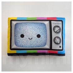 "Decorative Pillow, TV Pillow, Vintage Television, Retro, 80's, Rainbow, Geekery, Cushion, Kawaii, Room Decor, Dorm, Novelty, Toys, 9 x 6"" on Etsy, $18.00"