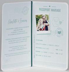 Faire-part de mariage Buromac Papillons 2018 108.048. Ce faire-part original en forme de passeport ravira vos invités. La couverture blanche est joliment décorée d'un tampon doré. A l'intérieur, un encart à fond vert pâle et décoré de différents tampons permettra l'impression de votre texte et de votre photo. Le tout est maintenu par un ruban vert.  #mariage #wedding #passeport #passeportmariage #fairepart #fairepartmariage #fairepartpasseport #invitation #invitationpasseport #mariage2021