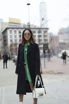 Green Eye Makeup and Polkadot Dress for NYFW | Song of Style