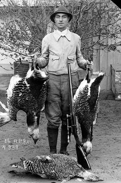 One of his favourites: This picture is one of Popescu's favourites. It depicts a hunter with a brace of Great Bustard, a bird that is now al...
