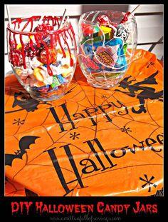 DIY Halloween Candy Jars and budget friendly! Just under $2 bucks http://www.amittenfullofsavings.com/diy-halloween-candy-jars/
