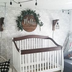 My nursery room.Restored crib, custom sign, brick wall, macrame swing uhhgg I. My nursery room.