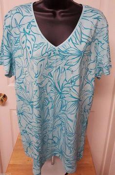 Basic Editions NWT Woman's Light/Dark Green Floral Design Shirt Size XL #BasicEditions #Shirt #Casual