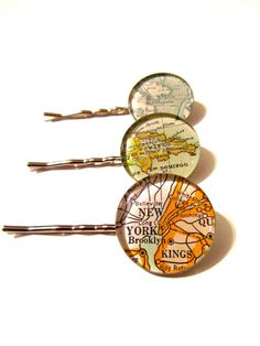 Set of 3 Vintage Map Hairpins