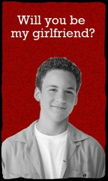 A set of Boy Meets World Valentines with free printable via Chrystina Noel.