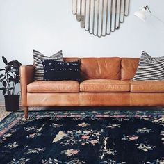 Here's another photoshop for you! ⚡️EDEN⚡️ shown here (in @elizaandkate's living room!), is one of my unexpected favorites. The deep indigo is just too good and the wear on this rug is *literally* perfect. She's also an 8x10 if you're looking for something larger! #francesloom #rugslinger