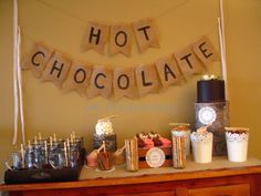 Hot chocolate bar! More proof that when you think you have a great idea just do some searching and you'll find many other people who've had it as well (and actually followed through with it).
