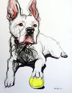 Valjean - American Staffordshire Terrier Marker, pencil, colored pencil, pen and highlighter on paper Original art - www.juliepfirsch.com