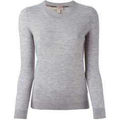 BURBERRY BRIT Crew Neck Sweater (1.385 BRL) ❤ liked on Polyvore featuring tops, sweaters, shirts, burberry, light grey sweater, burberry sweater, crew neck top, burberry tops and cashmere shirt