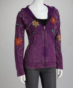 Purple Flower Topstitch Zip-Up Hoodie