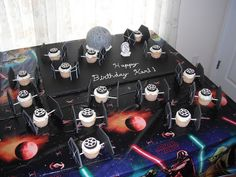 star wars cake and cupcakes I made for my son's birthday