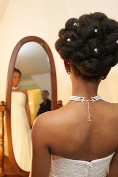 Wedding Hair Ideas for Natural Bride :  wedding braids hairstyle natural hair Cinnabun