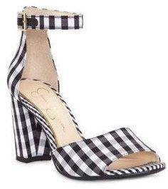 096bf7d1b4b4 Jessica Simpson Sherron Checkered Ankle-Strap Sandals - Black   white  Gingham print heeled sandals