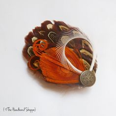 AUTUMN ALMOND  Mini Almond and Orange Peacock by TheHeadbandShoppe