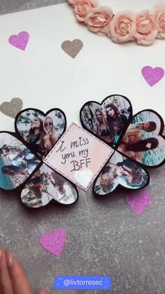 DIY - I MISS YOU MY BFF ⭐, Whenever a gift is handmade, it carries special meaning. It demonstrates to you took enough time an, Cool Paper Crafts, Paper Crafts Origami, Diy Crafts For Gifts, Creative Crafts, Diy Crafts Videos, Diy Paper, Wood Crafts, Diy Best Friend Gifts, Diy Gift For Bff