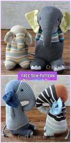Sew Sock Elephant DIY Tutorial, sock toys, elephant sew patterns from recycled socks Fabric Animals, Sock Animals, Cardboard Toys, Paper Toys, Elephant Crafts, Crafts To Do, Diy Crafts, Sewing Crafts, Sock Toys