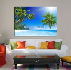 Large Wall Art Canvas Inclined Palms over Shiny Sea