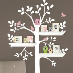 Shelving Tree with Birds Decal - Simple Shapes Wall Decals, Furniture, and Accessories Girl Nursery, Girl Room, Nursery Decor, Nursery Ideas, Room Ideas, Baby Bedroom, Girls Bedroom, Tree Shelf, Tree Wall