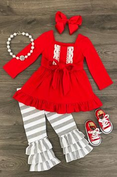 Red and Gray Boutique Outfit