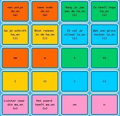 Memory: Bij elke kleur hoort een letter, bijvoorbeeld de L. Op het ene plaatje staat een zin, op het andere plaatje de enkele letter of dubbele letter die er bij hoort. Er zijn dus twee zinnen die bij één kleur horen. De kinderen moeten aan de zin kunnen zien welke vorm er bij hoort. Dit is een leuk spel om met de volledig klas te spelen. Zo is het ook een coöperatief spel.