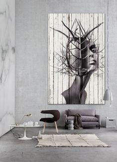 """Antonio Mora Artwork - """"El erizo"""". Printed paper on wood. Collage sobre viejos tablones de madera o vinilo ."""