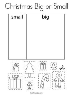 Christmas Big or Small Coloring Page - Twisty Noodle - weihnactena Preschool Christmas Activities, Christmas Worksheets, Christmas Math, Preschool Learning Activities, Preschool Curriculum, Preschool Worksheets, Kids Learning, Preschool Prep, Preschool Crafts