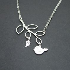 Personalized Branch and Bird Necklace by SweetBlueBirdJewelry, $21.00