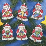 Santas Gifts Ornaments. BEARING GIFTS, our Santa ornaments add a festive finish to holiday tree or gift. Counted cross stitch kit includes 14-count plastic canvas, cotton floss, beads, bells, pompoms, needle, chart and instructions. Set of six, each 3 x 4.. Price: $12.98