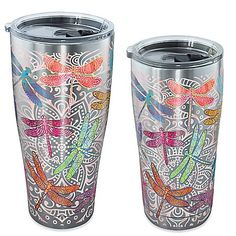 Tervis® SIC® Dragonfly Mandala Stainless Steel Tumbler with Lid Dragonfly Decor, Dragonfly Jewelry, Tumblers With Lids, Cup Design, China Patterns, Memorable Gifts, How To Memorize Things, Coffee Cups, Stainless Steel