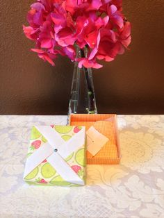 Small Tropical Pinwheel Origami Gift Box on Etsy, $4.00