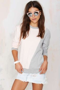 Divide and conquer in the Fifth The Great Divide Sweatshirt, with baby pink and heather gray panels.
