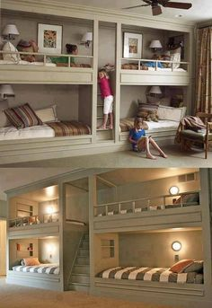Bunk beds that save space! Reminds me of what my husband's parents did when they built their house