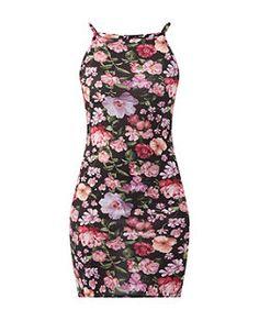 Black Pattern (Black) Black High Neck Floral Print Mini Dress  | 320153109 | New Look