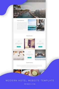 hotel website Your new website is just a few clicks away! Launch it today no coding knowledge required. Use the modern hotel website template to create your website today.