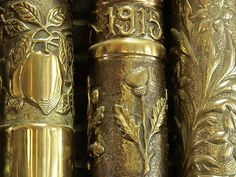 WW I Trench art -- engraved/chased bomb shells