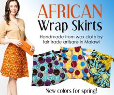 Dsenyo's wax cloth wrap skirts hand made by women in Malawi, Africa.  Fair Trade Gifts and Home Decor ~ Swahili African Modern #fairtrade #waxcloth