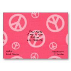 PEACE BUSINESS CARDS - PINK - BUSINESS - SIGNS - Order in bulk to save.