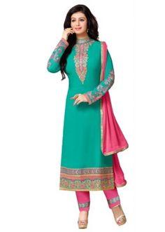 Eid Special  Green Georgette  Salwar suit  - 1890166