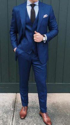 Blue Suit Wedding, Wedding Dress Men, Wedding Suits, Wedding Men, Blue Suit Brown Shoes, Blue Suit Men, Blue Suits, Navy Blue Tuxedos, Dark Blue Suit