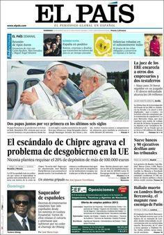 Los Titulares y Portadas de Noticias Destacadas Españolas del 24 de Marzo de 2013 del Diario El País ¿Que le parecio esta Portada de este Diario Español?
