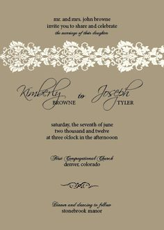 Harvest brown and ivory lace trim invitation - PDF or Printed. $10.00, via Etsy.