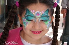 Nurit Pulchin || flower butterfly Face Painting Flowers, Butterfly Face Paint, Girl Face Painting, Body Painting, Face Painting Tutorials, Face Painting Designs, Fantasy Make Up, Face Design, Animal Paintings