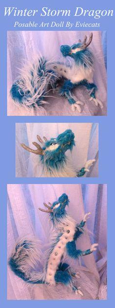 Winter Storm Dragon Posable Art Doll Secret Santa by Eviecats