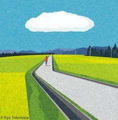 One cloud Art Print by Ryo Takemasa - X-Small Business Illustration, Flat Illustration, Digital Illustration, Japanese Illustration, Landscape Illustration, Ryo Takemasa, Visual Communication Design, Cloud Art, Illustrations And Posters