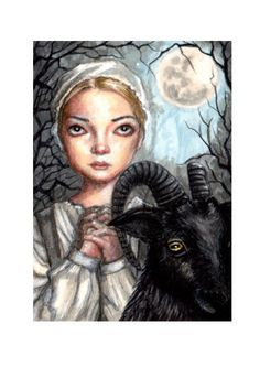 ORIGINAL ACEO ATC LOW BROW  GOTHIC  HALLOWEEN THE  WITCH BLACK PHILIP PAINTING  #PopArt