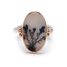 OVAL DENDRITIC AGATE RING